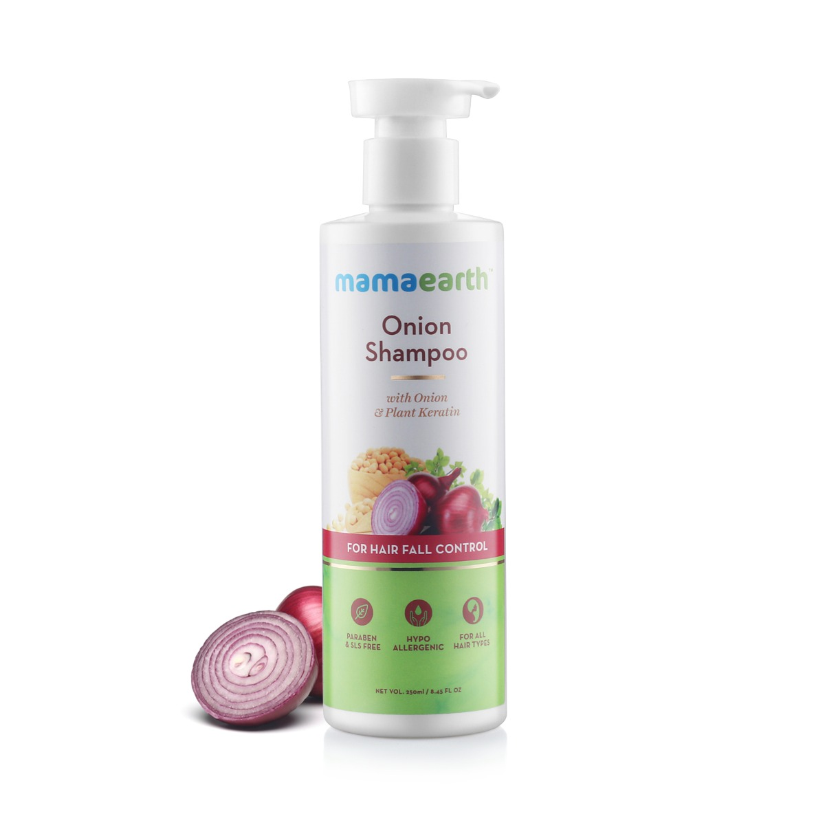 Mamaearth Onion Shampoo For Hair Growth And Hair Fall Control 250 Ml